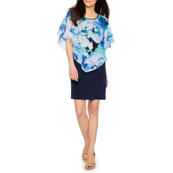 Byer California Short Sleeve Floral Shift Dress-Petite