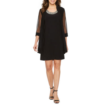 R&M Richards 3/4 Sleeve Embellished Jacket Dress