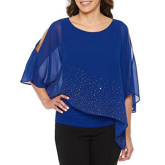 Ronni Nicole Womens Round Neck 3/4 Sleeve Embellished Blouse