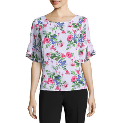 Liz Claiborne 3/4 Sleeve Round Neck Woven Floral Blouse - Tall