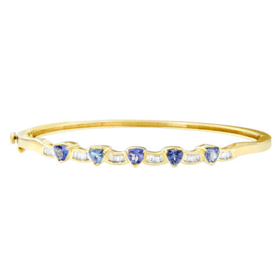 1/3 CT. T.W. Blue Tanzanite 14K Gold Triangle Bangle Bracelet