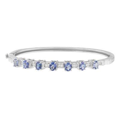 1/4 CT. T.W. Blue Tanzanite 14K White Gold Oval Bangle Bracelet