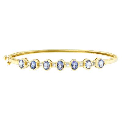1/5 CT. T.W. Blue Tanzanite 14K Gold Oval Bangle Bracelet