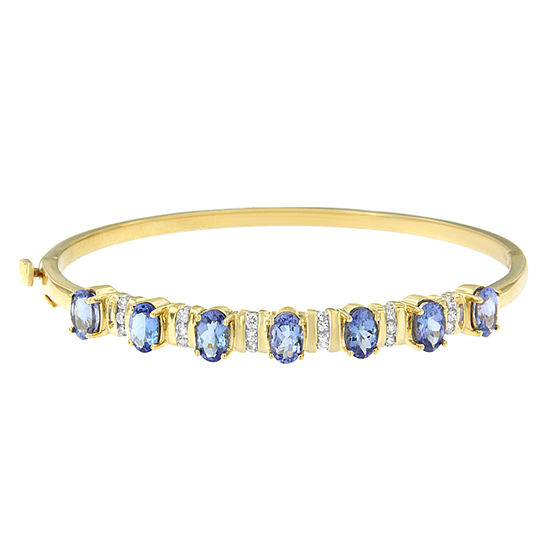 1/4 CT. T.W. Blue Tanzanite 14K Gold Oval Bangle Bracelet