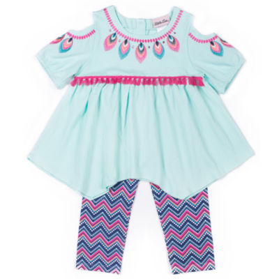 Little Lass Aqua Cold Shoulder Legging Set-Preschool Girls