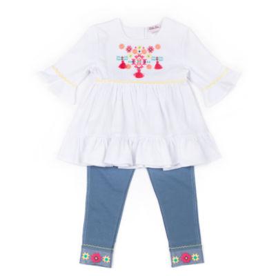 Little Lass Embellished Gauze Legging Set-Preschool Girls