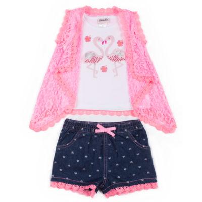 Little Lass Flamingo Short Set Girls