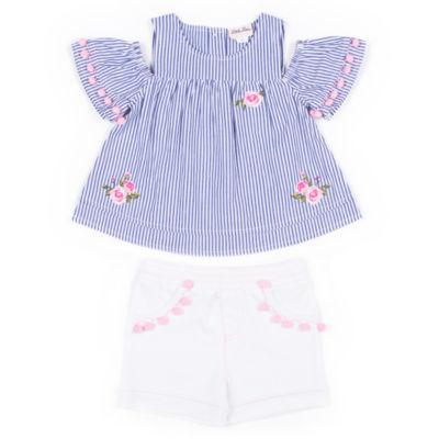 Little Lass Stripe Cold Shoulder Short Set Girls