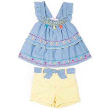 Little Lass Chambray Tank Short Set - Girls