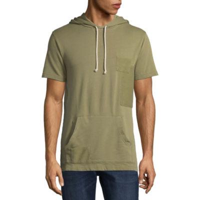 Arizona Short Sleeve Terry Cloth Patchwork Hoodie