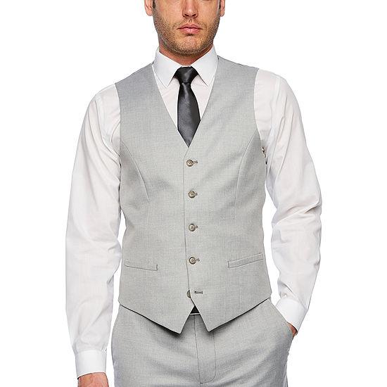 JF J.Ferrar Light Gray Slim Fit Suit Vest