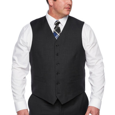 Stafford Executive Super100 Charcoal Grid Classic Fit Suit Vest - Big & Tall