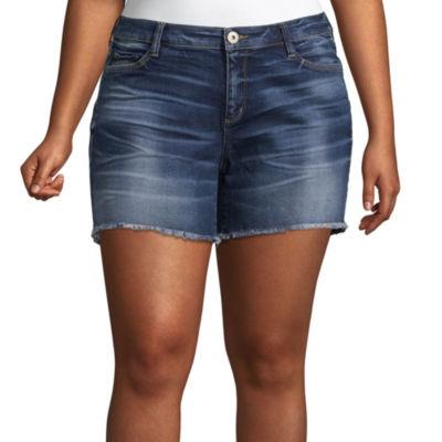 "Arizona 4 1/2"" Raw Edge Midi Shorts-Juniors Plus"