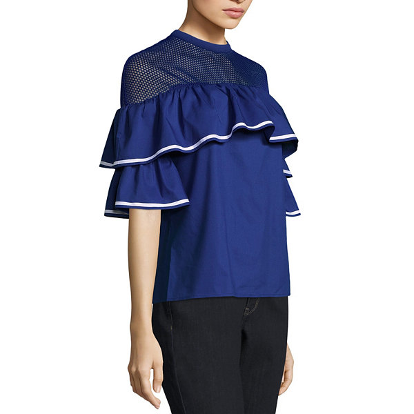 Belle + Sky Short Sleeve Mesh Yoke Ruffle Top