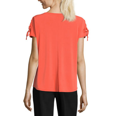 Worthington Short Sleeve Crew Neck T-Shirt-Womens