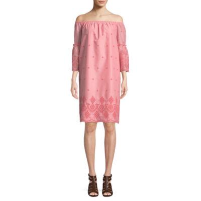 St. John's Bay 3/4 Sleeve Embroidered Shift Dress