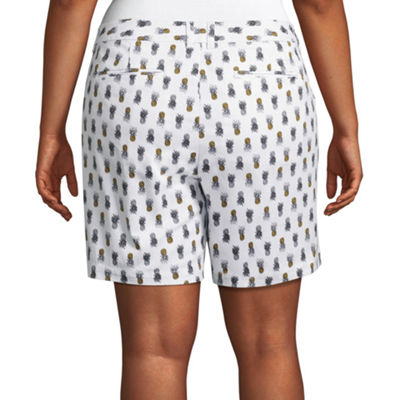 "Boutique + 7"" Pineapple Print Twill Shorts - Plus"