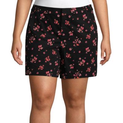 """Boutique + 7"""" Jamie Floral Twill Shorts - Plus"""