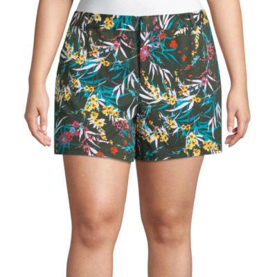 """Boutique + 5"""" Floral Twill Shorts - Plus"""