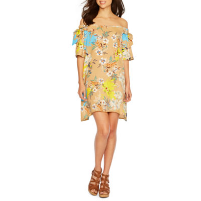 Nicole By Nicole Miller Short Sleeve Floral Shift Dress