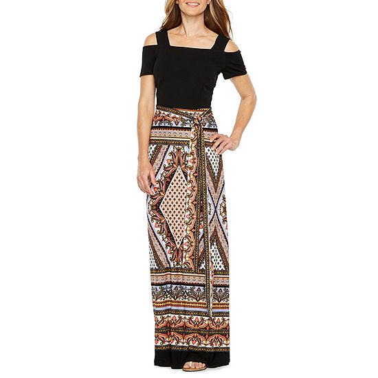 Be by CHETTA B Cold Shoulder Print Maxi Dress