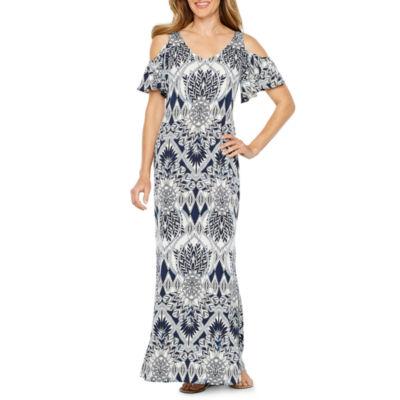 MSK Cold Shoulder Scroll Maxi Dress