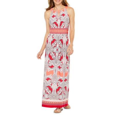 Studio 1 Sleeveless Puff Print Paisley Maxi Dress