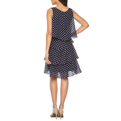 S. L. Fashions Sleeveless Dots Shift Dress