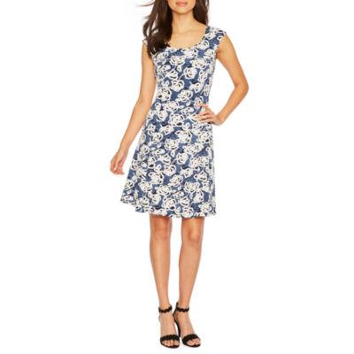 Ronni Nicole Sleeveless Floral Puff Print Fit & Flare Dress