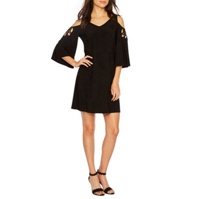 MSK 3/4 Sleeve Cold Shoulder Shift Dress