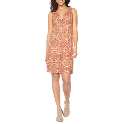 St. John's Bay Sleeveless Medallion A-Line Dress