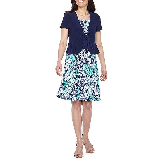 Perceptions-Petite Sleeveless Midi Jacket Dress