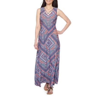 R & K Originals Sleeveless Pattern Maxi Dress-Petite