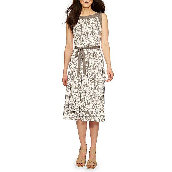Perceptions Sleeveless Floral A-Line Dress-Petite