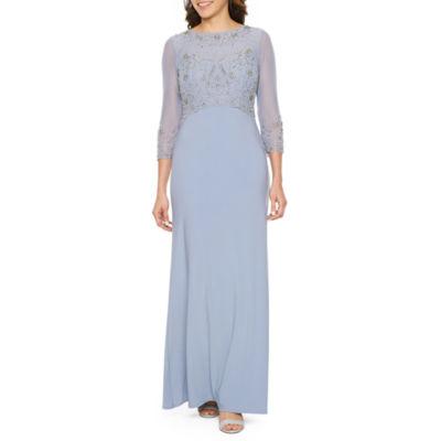 Jackie Jon 3/4 Sleeve Beaded Ball Gown