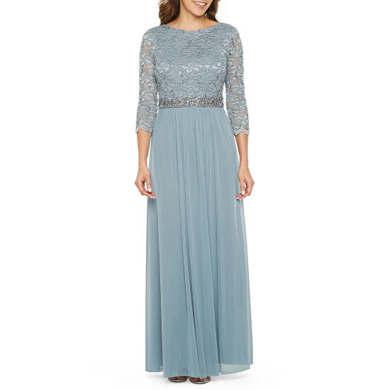 Jump Apparel 3/4 Sleeve Beaded Lace Evening Gown