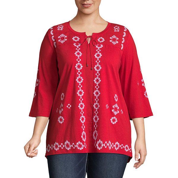 Elbow Sleeve Embroidered Peasant Blouse - Plus