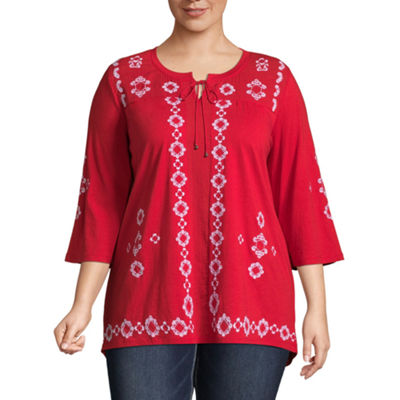 3/4 Sleeve Embroidered Peasant Blouse - Plus