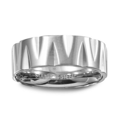 Mens 9M Stainless Steel Wedding Band