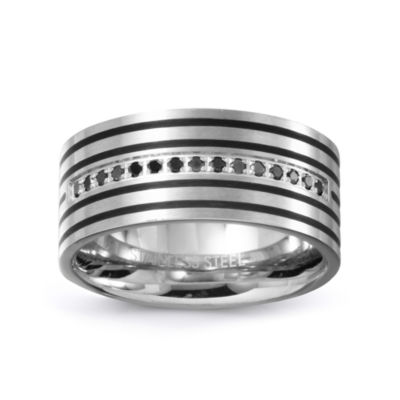 Mens 10mm 1/8 CT. T.W. Black Diamond Stainless Steel Wedding Band