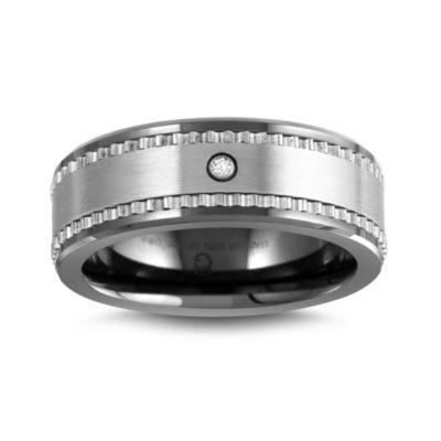 Mens 6mm Diamond Accent Genuine White Diamond Ceramic Wedding Band