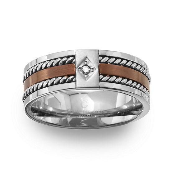 Mens 8MM Diamond Accent Genuine White Diamond Stainless Steel Wedding Band