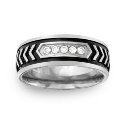 Mens 8MM 1/10 CT. T.W. Genuine White Diamond Stainless Steel Wedding Band