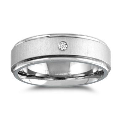 Mens 7mm Diamond Accent Genuine White Diamond Titanium Wedding Band