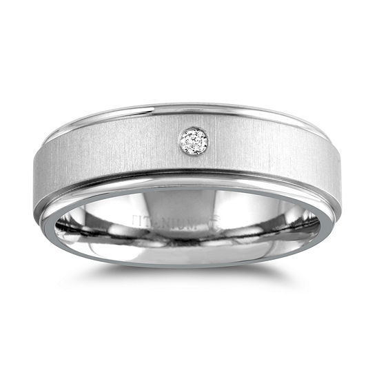 Mens 7MM Diamond Accent Genuine White Diamond Titanium Wedding Band