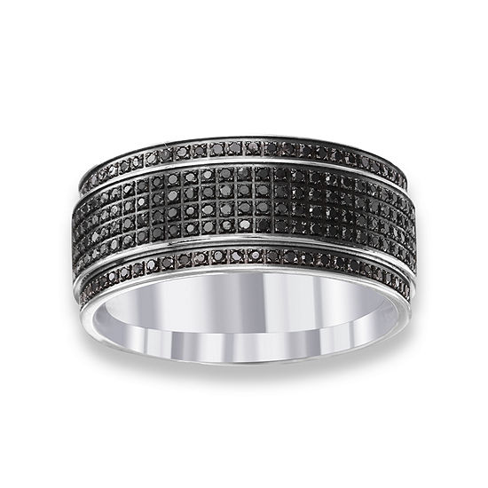 Mens 10MM Diamond Accent Genuine Black Diamond Stainless Steel Wedding Band
