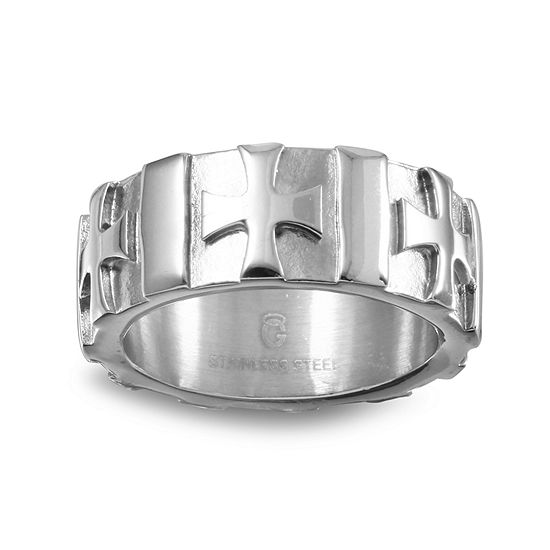 7MM Diamond Accent Genuine White Diamond Stainless Steel Wedding Band