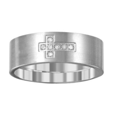 Mens 6mm Diamond Accent Genuine White Diamond Titanium Wedding Band