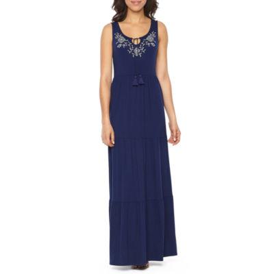 "St. John's Bay Embriodered Tiered Maxi Dress - Tall 56"""