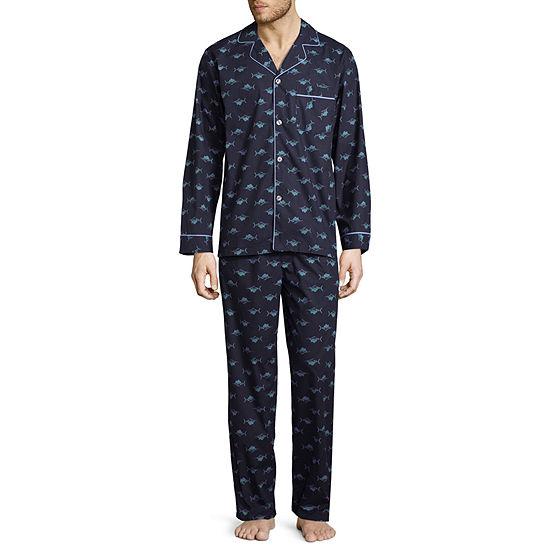Stafford Long Sleeve/Long Leg Broadcloth Men's Pajama Set - Big